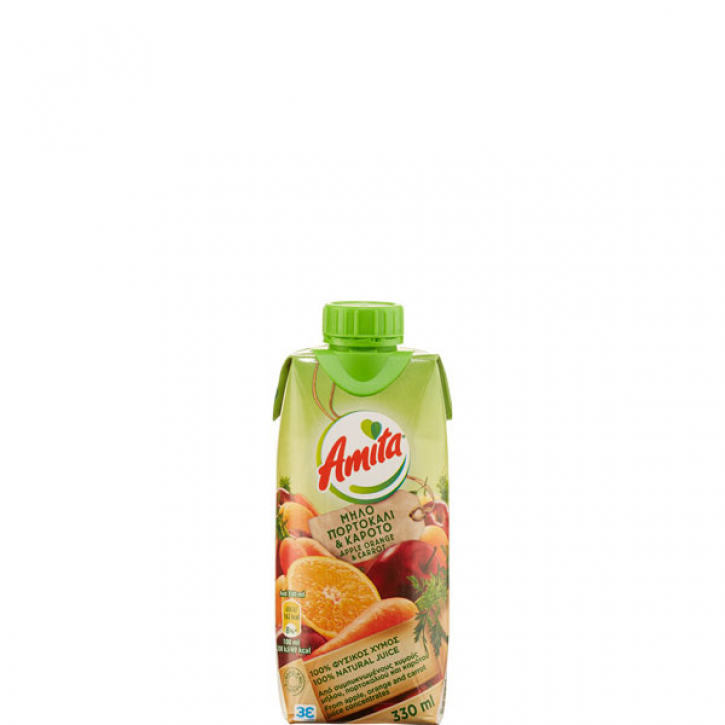 Apfel- Orange- Karotten Fruchtsaft 100% (330ml) Amita