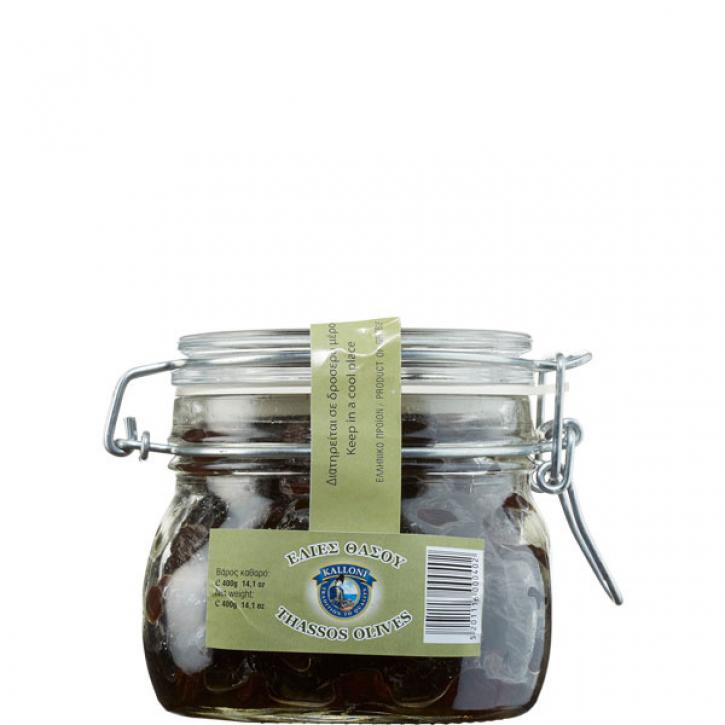 Oliven Thrumbas schwarz Thassos (400g Glas) Kalloni
