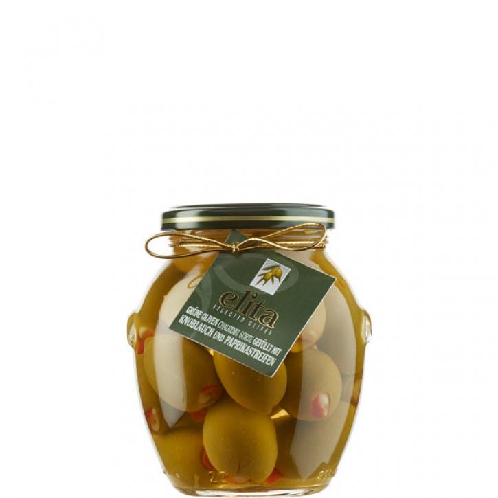 Oliven grün gefüllt mit Knoblauch und Paprika (370g) Elita