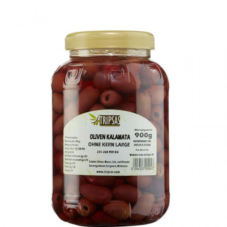 Oliven Kalamata Large ohne Kern (900g) Tripsas