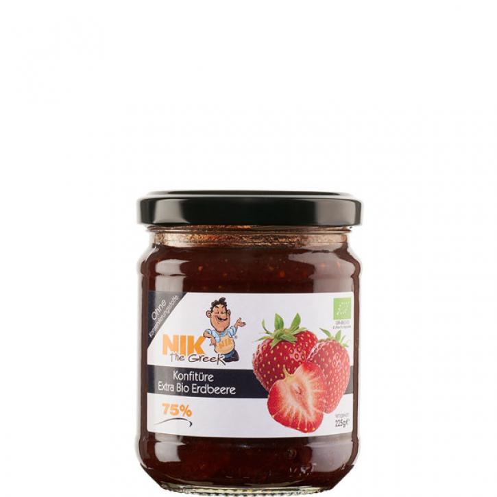 Konfitüre extra Erdbeere 75% BIO (225g) NIKtheGreek