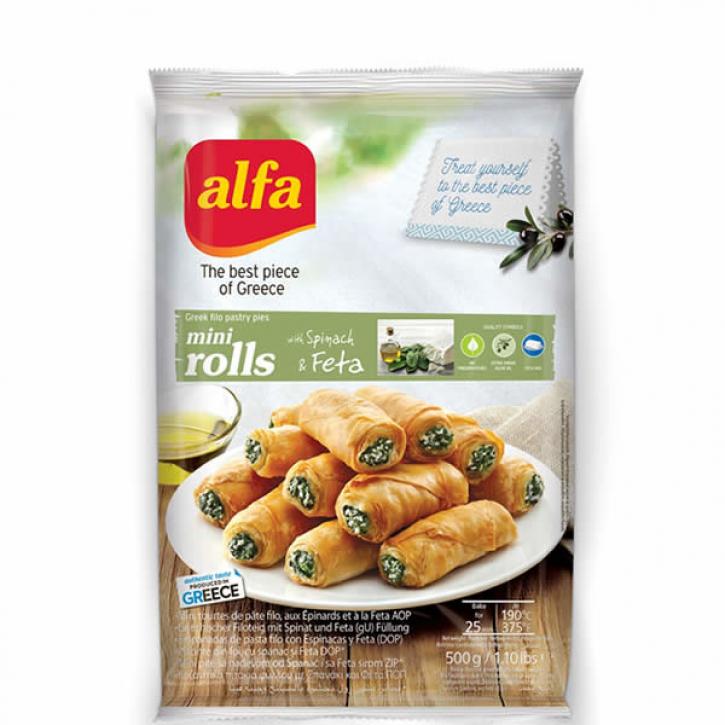 Pita Mini Roll gefüllt mit Spinat und Käse (500gl) Alfa
