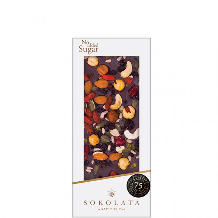 Dunkle Schokolade mit Nüssen und Beeren (100g) Agapitos