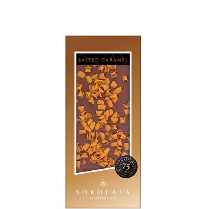 Milchschokolade mit Karamell-Meersalzflocken (100g) Agapitos