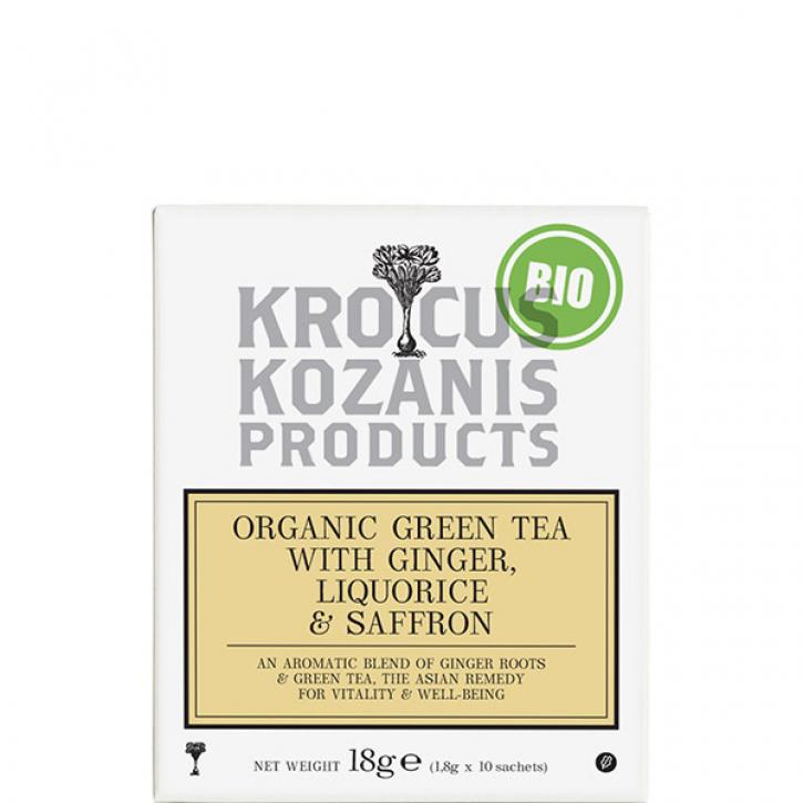 Tee Grün mit Ingwer, Lakritze & Safran BIO (18g) Kozani
