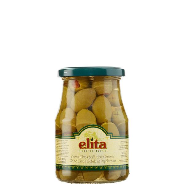 Oliven grün gefüllt mit Paprikapaste (370g) Elita