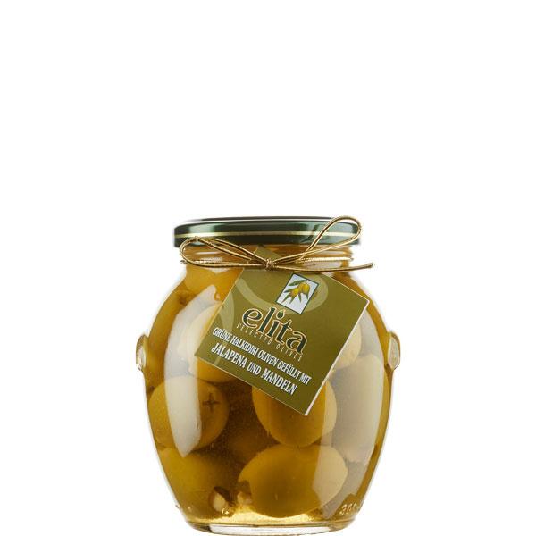 Oliven grün gefüllt mit Mandeln und Jalapeno (360g) Elita