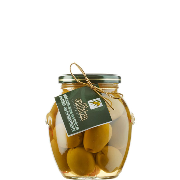 Oliven grün gefüllt mit Paprika & Jalapeno (360g) Elita