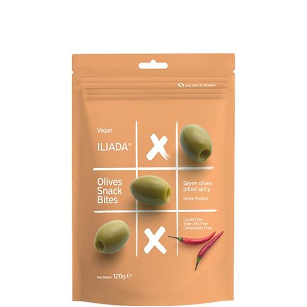 Oliven grün ohne Kern pikant gewürzt (120g) Iliada